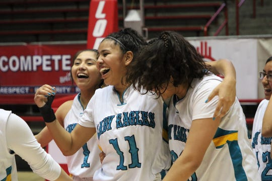 Navajo Prep's Hailey Martin, seen here celebrating the Lady Eagles' 43-33 win over Tohatchi in the 3A girls basketball state championship game on Friday, March 13, 2020, at Dreamstyle Arena in Albuquerque, was among three Prep players who earned 3A All-State First Team honors.
