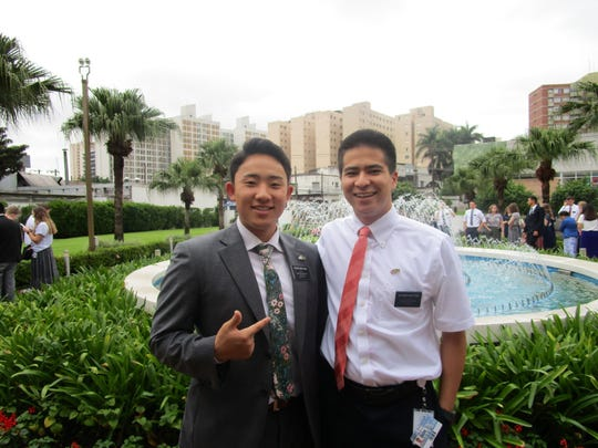Elder Quinn Askey (right) at the Missionary Training Center in Sao Paulo, Brazil.