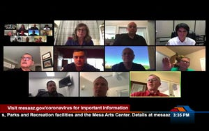 Mesa council members and city officials on a March 24 virtual meeting conducted via Zoom to discuss coronavirus preparedness.