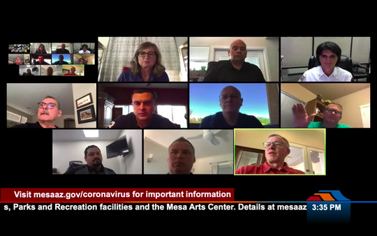 Mesa council members and city officials on a March 24 virtual meeting to discuss coronavirus preparedness.