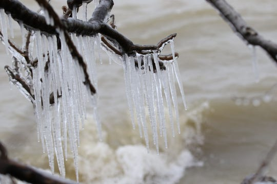Icicles form along the shoreline at Magee Marsh.