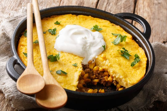 Tamale pie, with fewer than five ingredients, can be baked in a deep pie pan, a square baking dish or a cast-iron skillet.