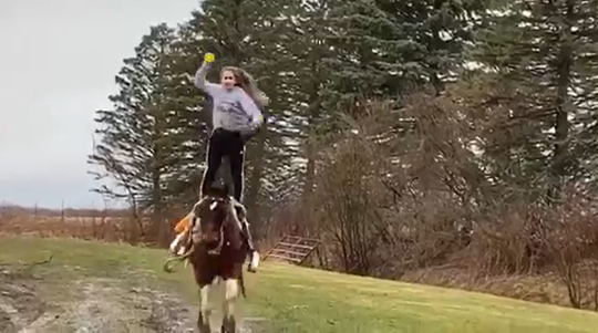 """Alexander sophomore Courtney Schum throws a ball while standing on her horse, Tater, in the team's virtual game of catch video on social media. Schum is known as Courtney Jean """"The Trick Riding Machine."""""""