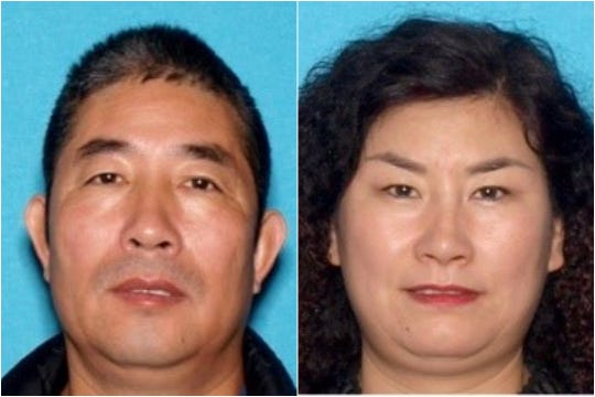 From left: Rui Wang, 51, of Chico and Junhua Wu, 47, of Chico were arrested by law enforcement in connection to a human trafficking investigation in March of 2020.