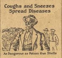 """the 1918 influenza epidemic marks the first time officials tried to educate the public about """"germs."""""""