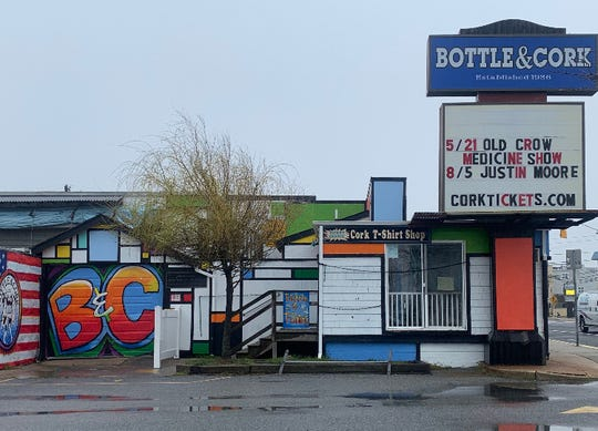 The Bottle & Cork nightclub in Dewey Beach is scheduled to host its season-opening party May 2. Its marquee is being updated regularly as tickets go on sale for more spring and summer concerts.