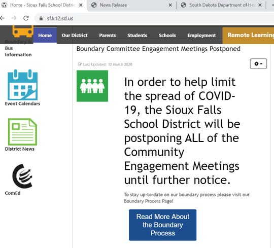 A screen shot of the Sioux Falls School District website Tuesday, March 24, 2020, shows that community input meetings about redrawing boundaries have been delayed because of the coronavirus pandemic.