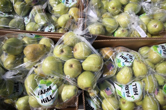 Each supplemental food kit given out by Second Harvest of the Big Bend at Godby High School includes a bag of pears.