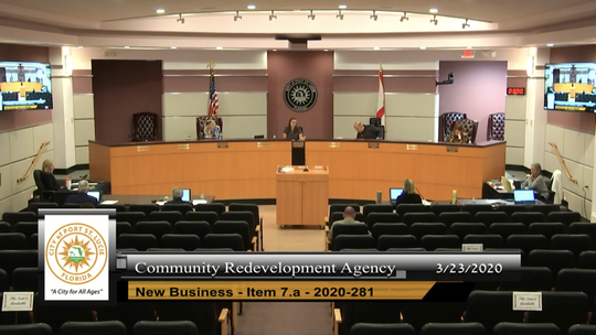 Port St. Lucie City Council on March 23, 2020 meeting as the city's Community Redevelopment Agency the  first time since Gov. Rov DeSantis signed an executive order allowing elected officials to meet using video chats and video conferencing while adhering to social distancing guidelines to stop the spread of COVID-19 also known as the coronavirus.
