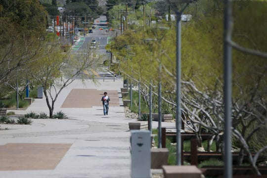 The UTEP campus was almost vacant Tuesday, March 24, 2020, in El Paso. UTEP moved classes to online in response to the coronavirus pandemic.