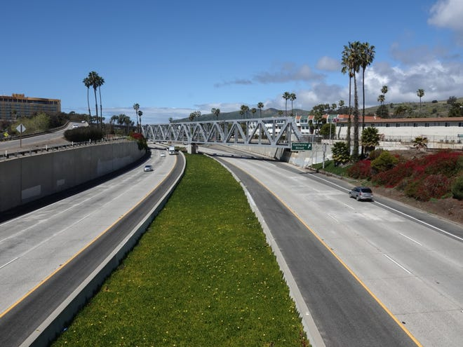 Highway 101 in Ventura had few cars at noon on March 23 as residents were told to stay home to stop the spread of the coronavirus.