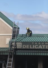 Local fire departments knock down a fire at 318 Rt. 59 in Nanuet on Tuesday, March 24, 2020.  The fire is believed to have started in the Thruway Deli.