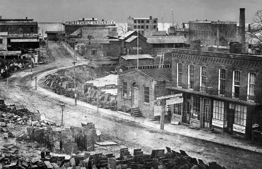 A view of Yonkers' Main Street as it was in the 1860s.