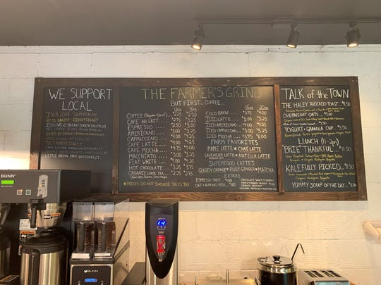 The coffee bar is a major focus of The Farmer's Grind in South Salem.