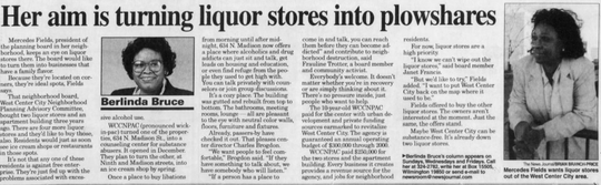 Mercedes Fields was featured in The News Journal on Jan. 7, 1998 for her work against liquor stores in the West Center City neighborhood.