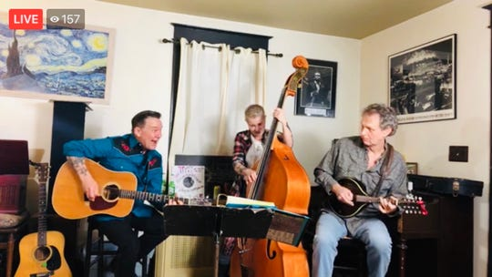 Bellefonte-based Americana trio Betty & the Bullet perform a living room concert Monday night. Since clubs are closed due to the coronavirus pandemic, local musicians have turned to technology to connect with fans.