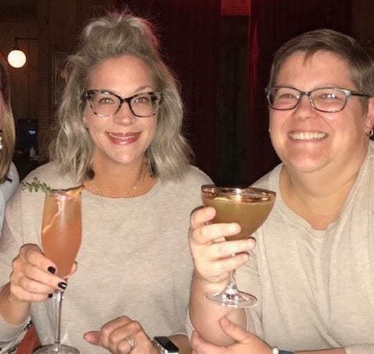 Valerie Stieler (left) and Jennifer Fenstermacher at Torbert Street Social in Wilmington before social distancing was a thing.