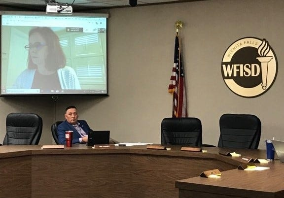 Wichita Falls ISD trustees attended the regular school board meeting March 23, 2020, through online video conferencing to observe COVID-19 precautions.