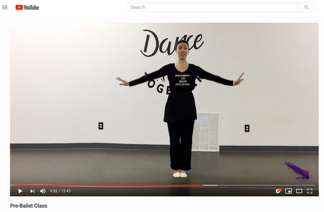 A screen capture of an online dance class offered by Movement on Main in Zanesville shows pre-ballet instructor Emma McCullough.
