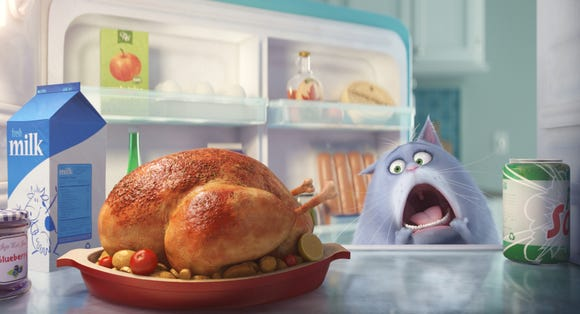 Chloe the cat (voiced by Lake Bell) yearns to have a morsel of turkey in 'The Secret Life of Pets.'
