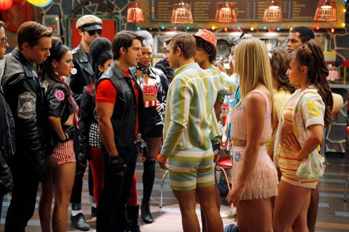 "The bikers and surfers tussle in a turf war in ""Teen Beach Movie."""