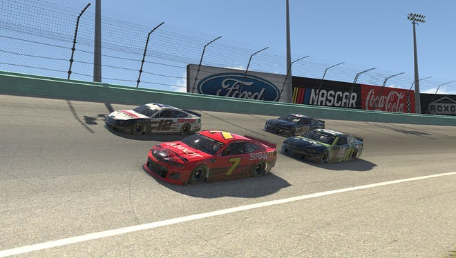 Justin Allgaier (7), Austin Cindric (12) and Justin Haley (16) battle for position on the virtual Homestead-Miami Speedway oval.