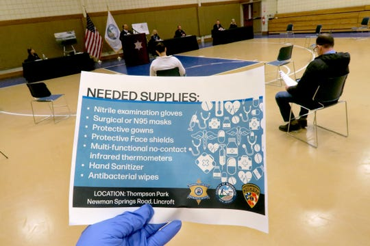 Monmouth County officials announced a donation drop off site in the county asking for essential supplies during a Wednesday, March 25, 2020, press conference at the Police Academy in Freehold Township.