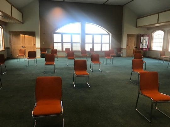 Chairs set up in the L. Manuel Hirshblond room at Toms River town hall to provide for social distancing during Toms River Council meeting, March 24, 2020.