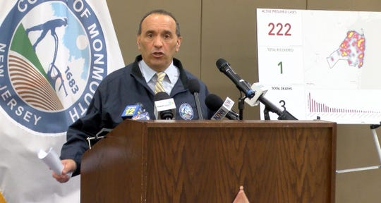 Monmouth County Freeholder Director Tom Arnone announces a donation drop off site in the county asking for essential supplies during a Wednesday, March 25, 2020, press conference at the Police Academy in Freehold Township.