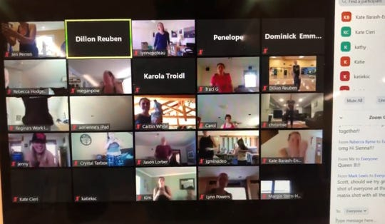Dillon Reuben used Zoom, shown here in a screenshot on his computer, to broadcast his weekly Zumba class this past Sunday.