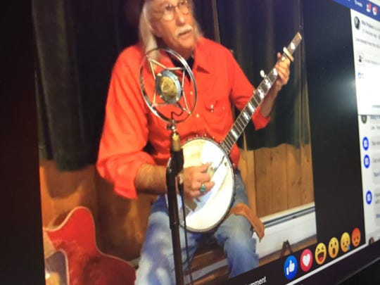 Hinesburg musician Rik Palieri performs a live-stream concert on Facebook on March 20, 2020.