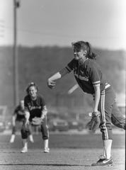 Unioto's Aubrey Eblin pitches during a game against Paint Valley in April 1993. Eblin recorded 10 strikeout and eight walks.
