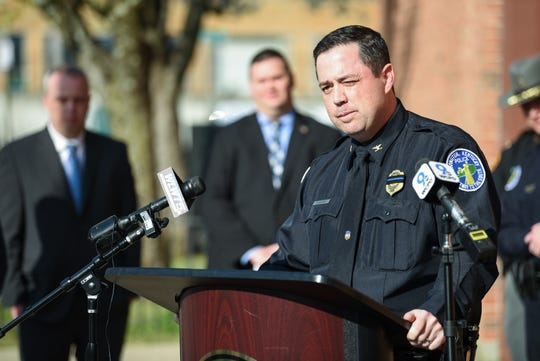 Covington Chief of Police, Robert Nader speaks at a press conference after the body of Paige Johnson was found. Johnson was reported missing 10 years ago.