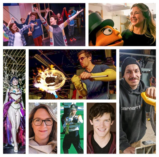 The individual inductees for the Del Val Hall of Fame for the Arts are (center) Kiva Ford, class of '02, for artistry in glass; (clockwise from upper left) Heather Fleishman, class of '06, for dance; Meg Whitehurst, class of '13, for backstage work; Adam Zanallato, class of '12, for woodworking; Alex MacNicoll, class of '07, for acting; Ben McPherson, class of '07 for music and teaching; Leah Culton Gonzalez, class of '91 for movie and TV producing; and Victoria Moses Mearini, class of '83, for design. The drumline of 2011-15 and the Golden Regiment of '15 will also be inducted.