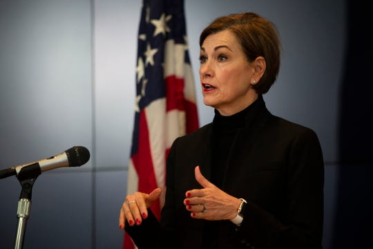 Iowa Governor Kim Reynolds announces updates on COVID-19 at the State Emergency Operations Center in Johnston, IA on March 25, 2020. The state counted its first death from COVID-19 in Dubuque County as of Tuesday.
