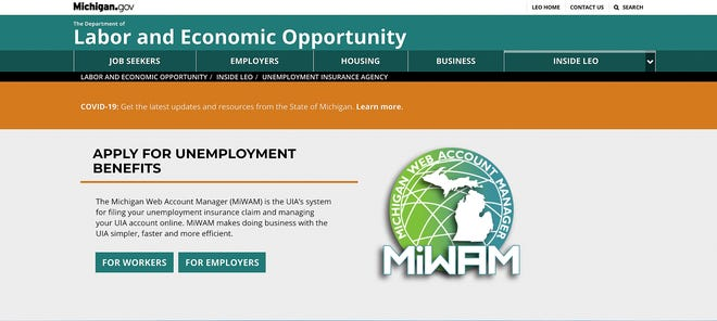 The Michigan Department of Labor and Economic Opportunity website where online unemployment applications can be submitted.