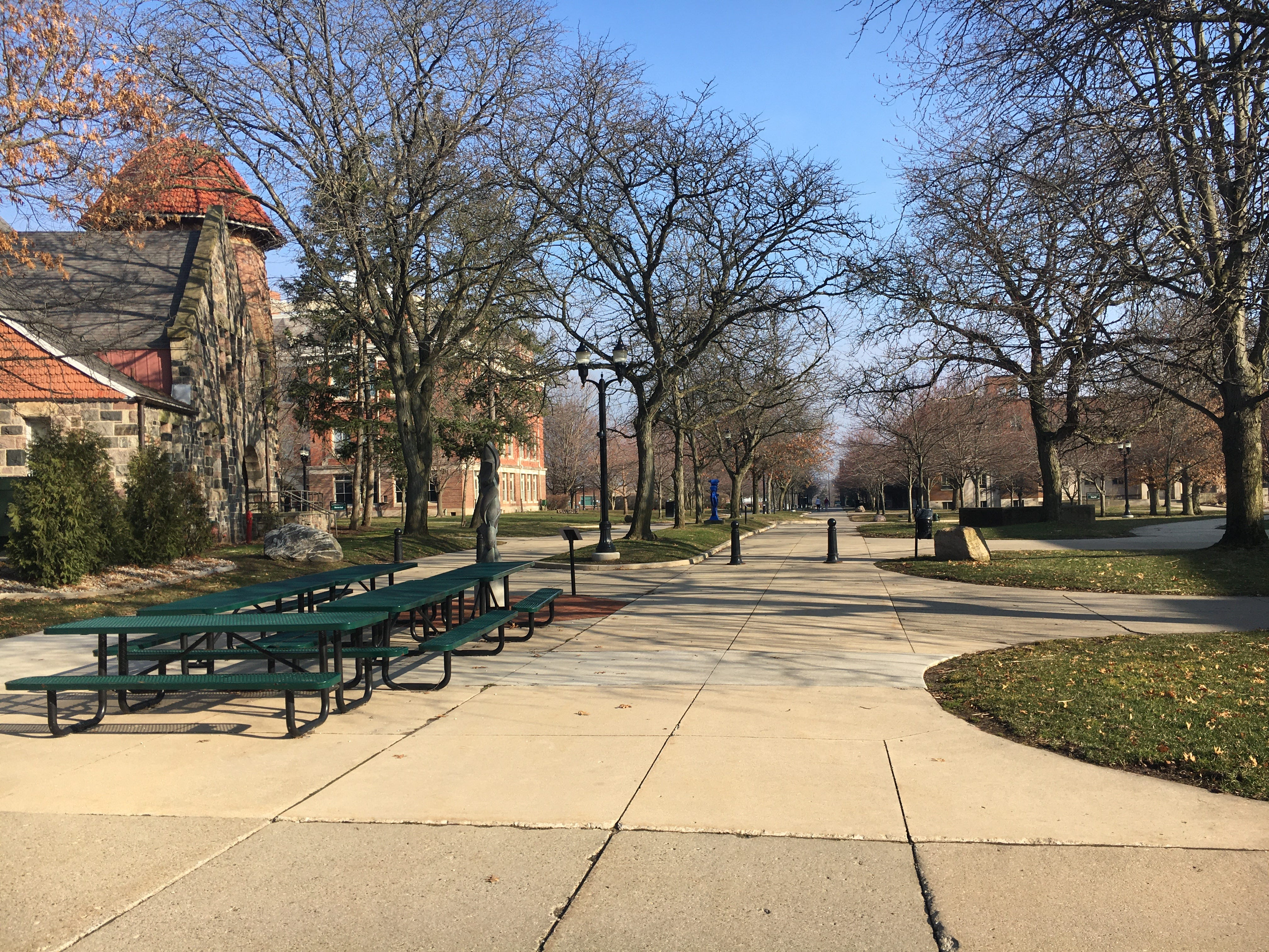 The sidewalks are empty on a Wednesday morning on Eastern Michigan University's campus