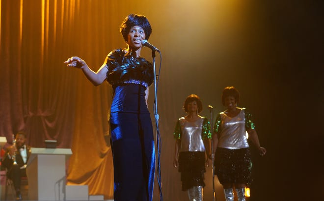 "Cynthia Erivo as Aretha Franklin, with Rebecca Naomi Jones as Carolyn Franklin and Patrice Covington as Erma Franklin in National Geographic's ""Genius: Aretha."""