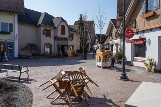 River Place Shops in Frankenmuth remain closed on March 25, 2020, due to the stay-at-home order to help prevent the spread of COVID-19.