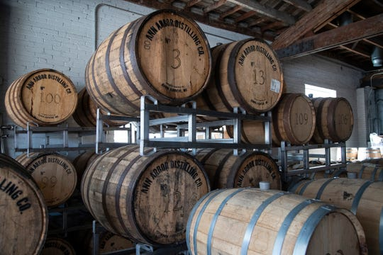 Barrels of whiskey are being aged at Ann Arbor Distilling Company in downtown Ann Arbor on March 25, 2020.