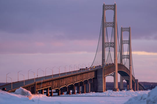 Traffic moving along the Mackinac Bridge is seen from the Upper Peninsula on Wednesday, March 4, 2020.