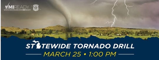 A statewide tornado drill is taking place at 1 p.m. Wednesday, according to the Michigan State Police