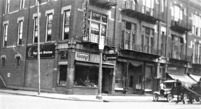 This 1920s photos shows a horse-drawn cart in front of the Loudenslager Block in Fremont.