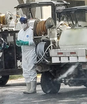 After 183,000 gallons of raw sewage spilled into Fort Myers creek Manuels Branch, contractors sprayed 60 gallons of GreenClean onto the 2.2-acre site.