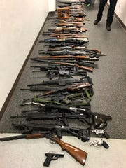 Greenville County deputies and investigators with the Greenville County Multi-Jurisdictional Drug Enforcement Unit seized 100 guns after responding to an overdose Monday night.