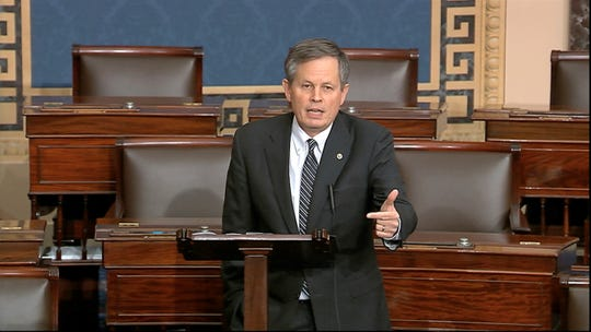 Sen. Steve Daines, R-Mont., speaks on the Senate floor Tuesday at the U.S. Capitol in Washington.