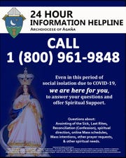 Archdiocese creates 24-Hour Information Helpline  for Catholic Church Matters Related to COVID-19 at  1 (800) 961-9848.