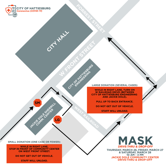 Map of Hattiesburg curbside drop-off location for masks