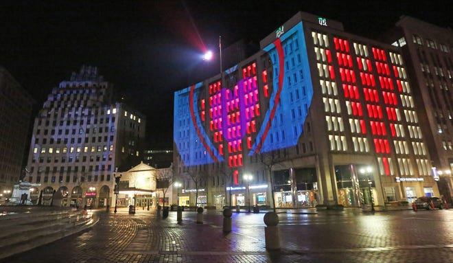 The Shining A Light display on Monument Circle has changed its light show to a new presentation that illuminates love and hope to the world from the heart of Downtown Indianapolis, Tuesday, March 25, 2020. The show is presented nightly from 9 - 11:59 p.m.