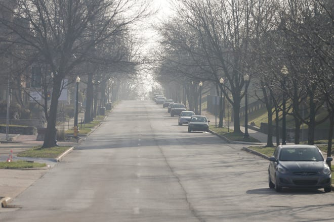 South Street sits empty looking eastbound from 10th Street as Gov. Eric Holcomb's mandatory 'stay-at-home' order is implemented, Wednesday, March 25, 2020 in Lafayette.